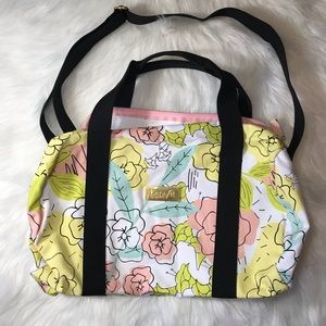 Benefit canvas floral duffel weekend bag